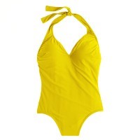 Long torso halter one-piece swimsuit