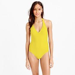 Long-torso halter one-piece swimsuit