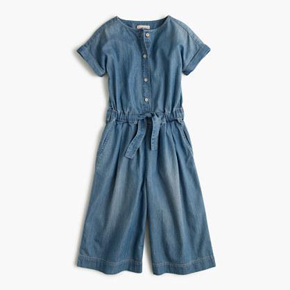 Girls' chambray jumpsuit