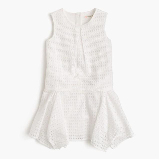 Girls' eyelet handkerchief dress