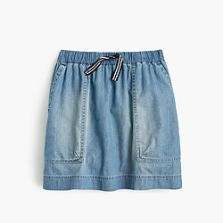 Girls' chambray pull-on skirt