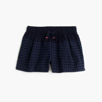 Girls' eyelet pull-on short