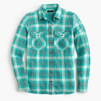 Boyfriend shirt in emerald plaid