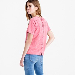 Collection lace-up back suede top