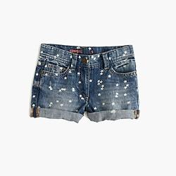 Girls' cowgirl cutoff short in Rye wash with stars