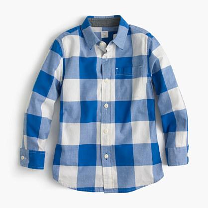 Kids' Secret Wash shirt in cobalt gingham
