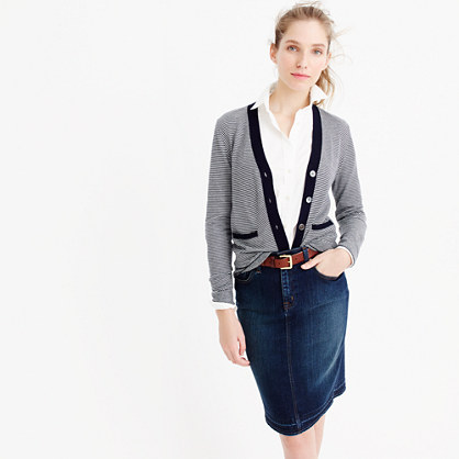 Fine-striped V-neck cardigan sweater