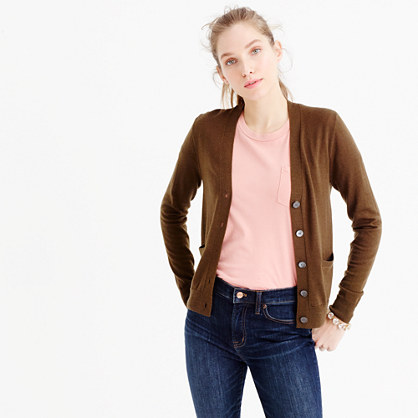 V-neck cardigan sweater in merino wool