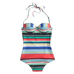 Underwire halter one-piece swimsuit in colorful stripe