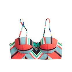 Underwire bikini top in colorful stripe
