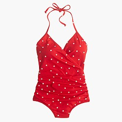 Wrap-front one-piece swimsuit in polka dot