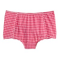 High-waist bikini bottom in gingham seersucker