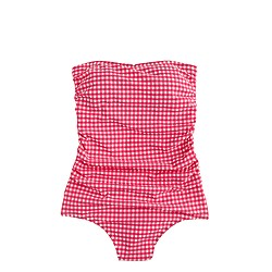Ruched bandeau one-piece swimsuit in gingham seersucker