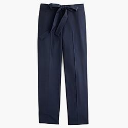 Tie-front pant in lightweight bi-stretch wool