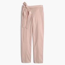 Tie-front pant in lightweight bi-stretch wool