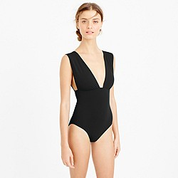 Long-torso V-neck one-piece swimsuit in Italian matte