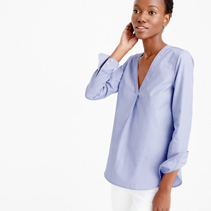 Thomas Mason® V-neck shirt in end-on-end