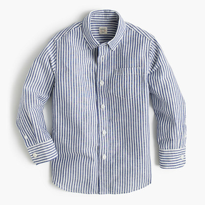 Kids' linen-cotton striped shirt