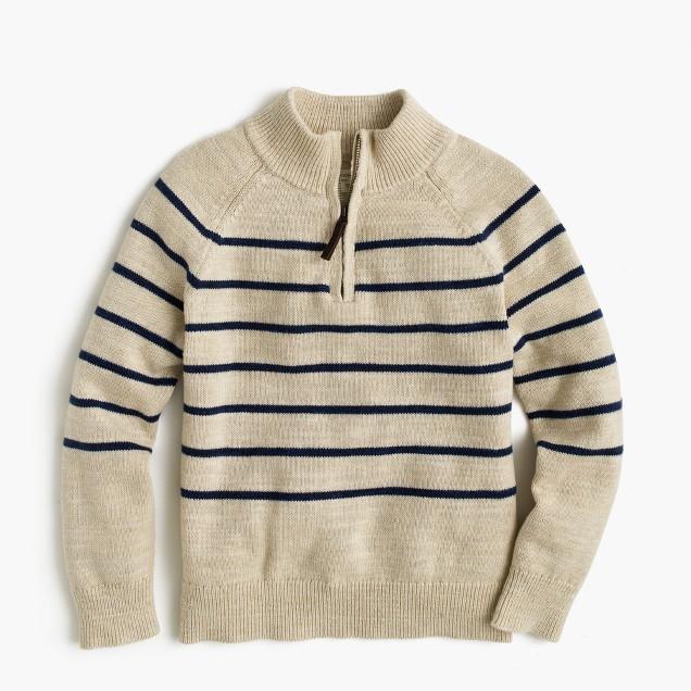 Boys' striped half-zip sweater