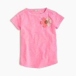 Girls' embellished flower T-shirt