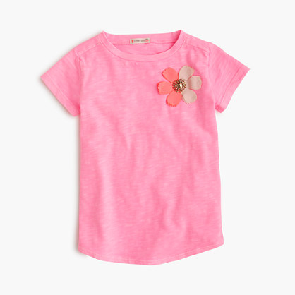 Girls' embellished flower T-shirt