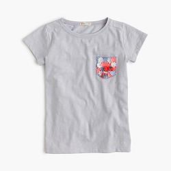 Girls' embellished flower pocket T-shirt