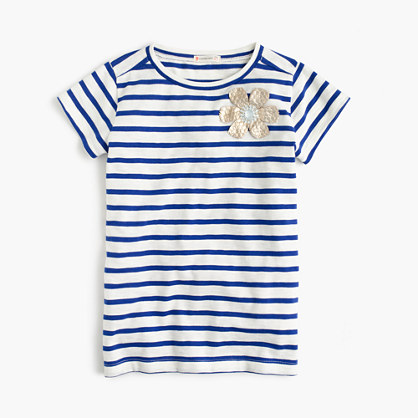 Girls' striped embellished flower T-shirt