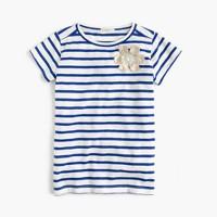 Girls' striped embellished flower T-shirt