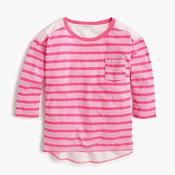 Girls' striped-front combo top