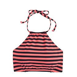 Cropped bikini top in classic stripe