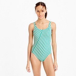 Long torso scoopback one-piece swimsuit in classic stripe