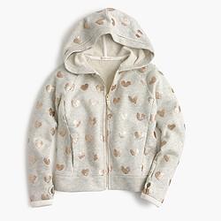Girls' glitter heart hoodie