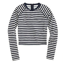 Cropped long-sleeve rash guard in classic stripe