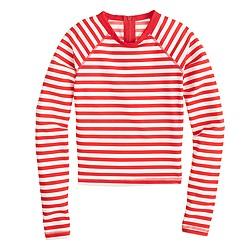 Cropped long-sleeve rash guard in classic stripe