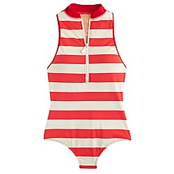 High-neck zip-front one-piece swimsuit in rugby stripe