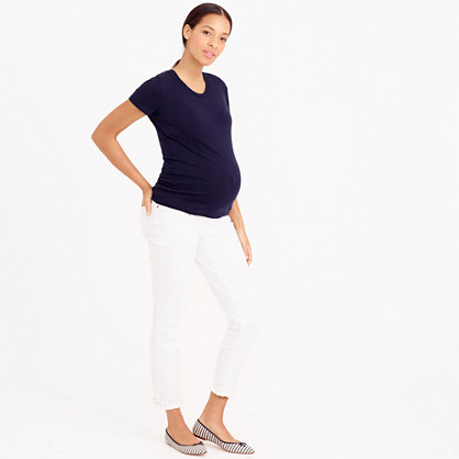 Petite maternity slim boy jean in white