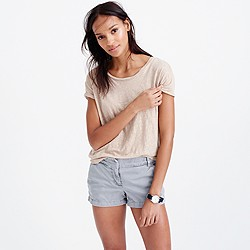 Relaxed linen T-shirt in metallic