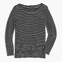 Linen long-sleeve striped T-shirt