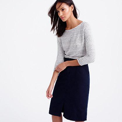 Linen long-sleeve striped T-shirt