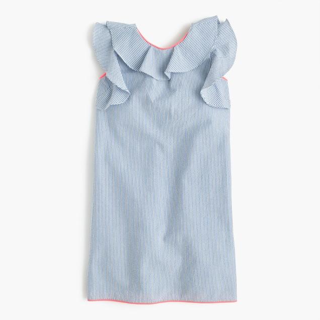 Girls' ruffle seersucker dress