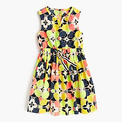Girls' picnic dress in kaleidoscopic floral