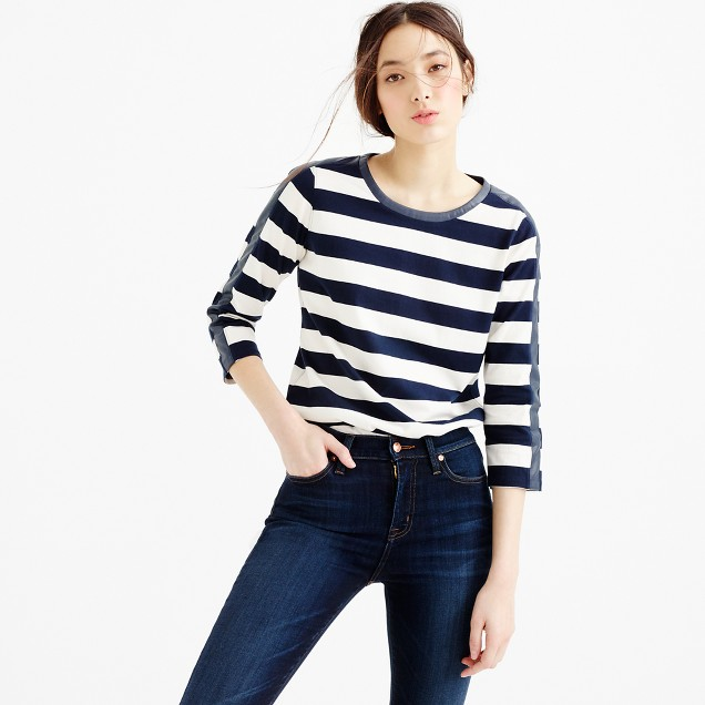 Rugby-striped T-shirt with back zipper