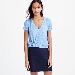 Linen cool-dye pocket T-shirt