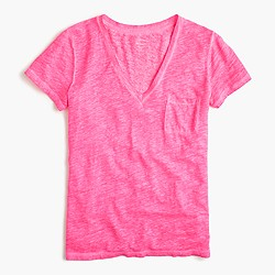 Linen cool-dye pocket T-shirt