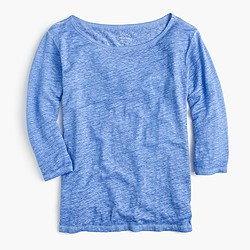 Linen cool-dye boatneck T-shirt