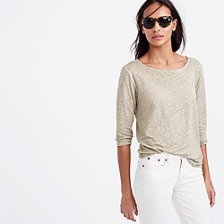 Linen cool-dye boatneck T-shirt