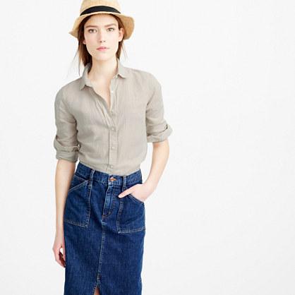 Tall perfect shirt in cotton-linen crosshatch