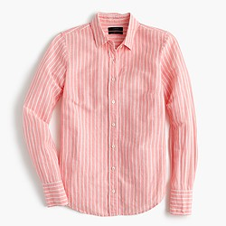 Tall perfect shirt in striped cotton-linen