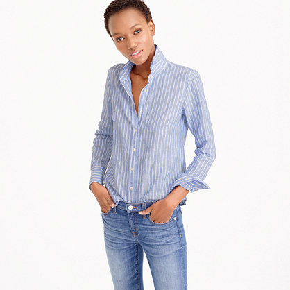 Perfect shirt in striped cotton-linen