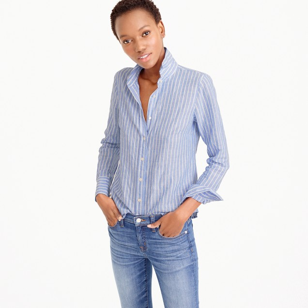 Petite perfect shirt in striped cotton-linen